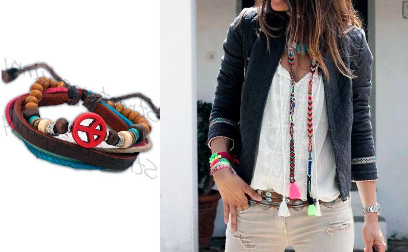 Mujer con pulsera hippie