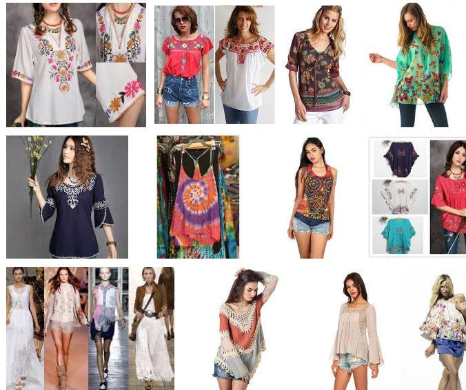 Muejres con una blusa hippie