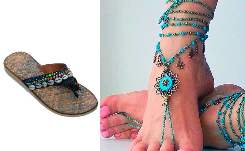 Mujer con sandalias hippies