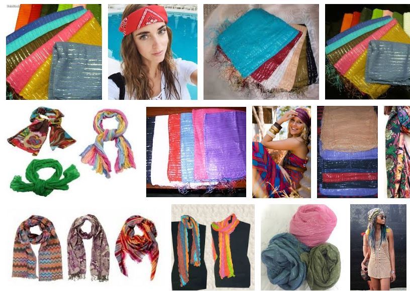 Mujeres con pañuelos de seda hippies