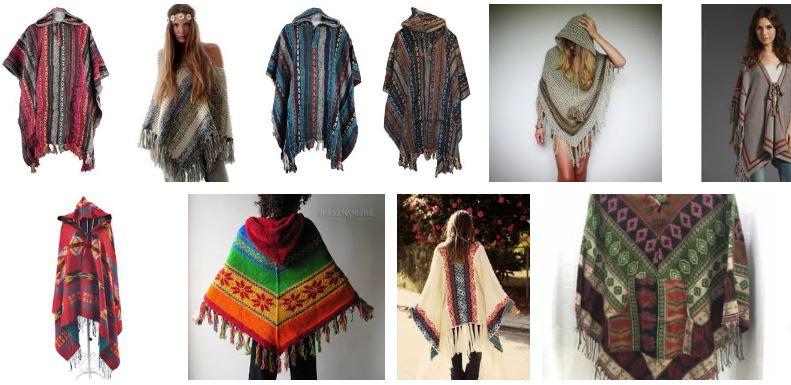 Mujeres con poncho hippie