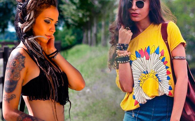 Mujeres con moda hippie boho chic