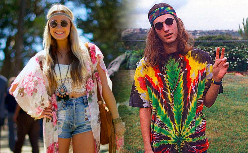 Disfraz de hippie hombre y mujer