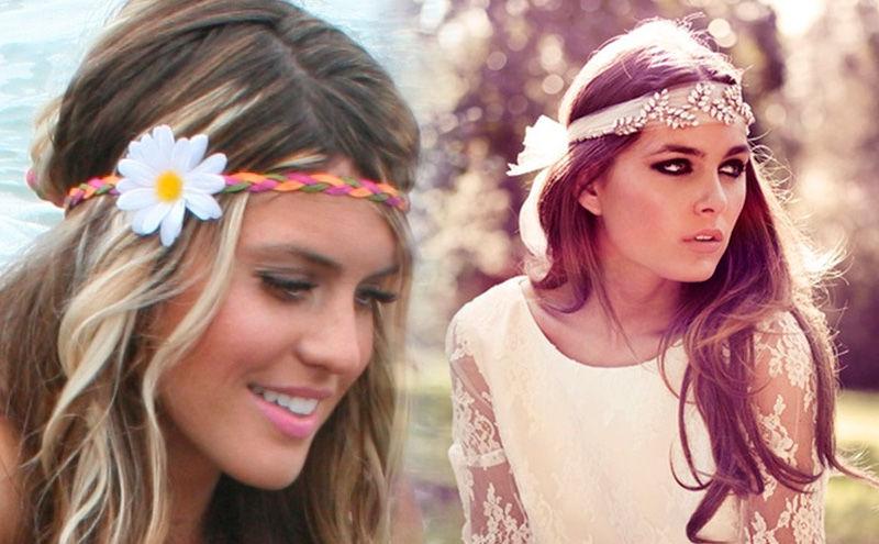 chicas con diadema hippie