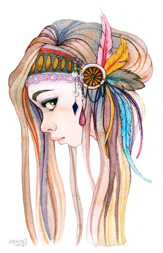 Dibujo Mujer hippie