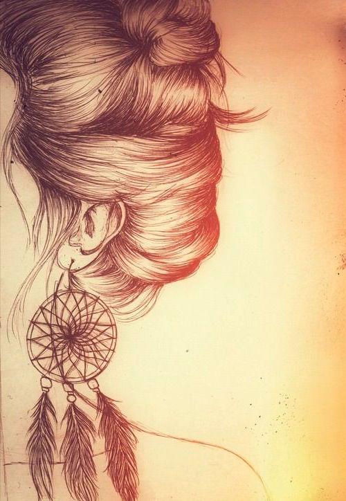 Dibujo Peinado y pendiente hippie