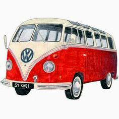 Dibujo furgoneta Volkswagen roja