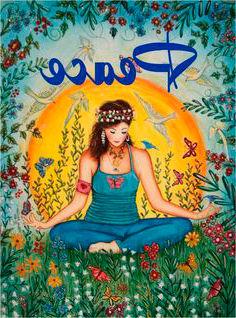 Dibujo hippie mujer sentada