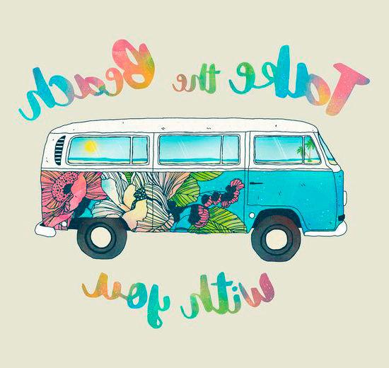 Dibujo furgoneta playa