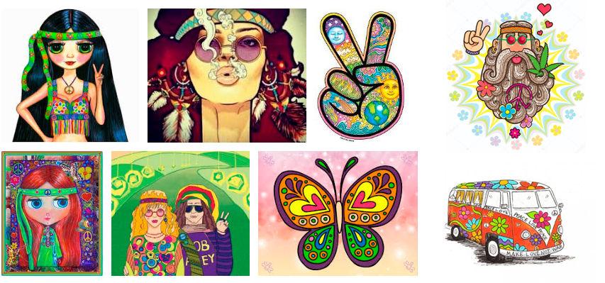 dibujos hippies