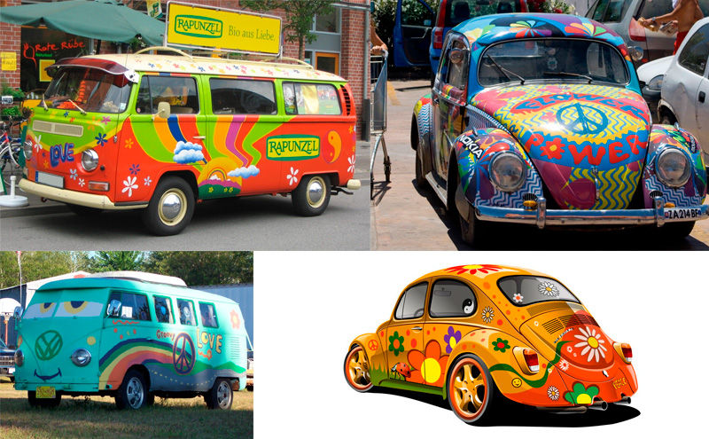 diferentes coches hippies