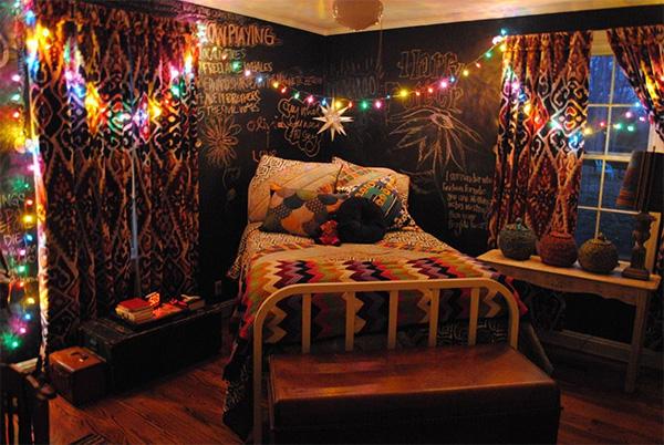 habitacion hippie cortinas