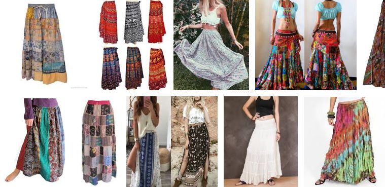 modelos de faldas hippies