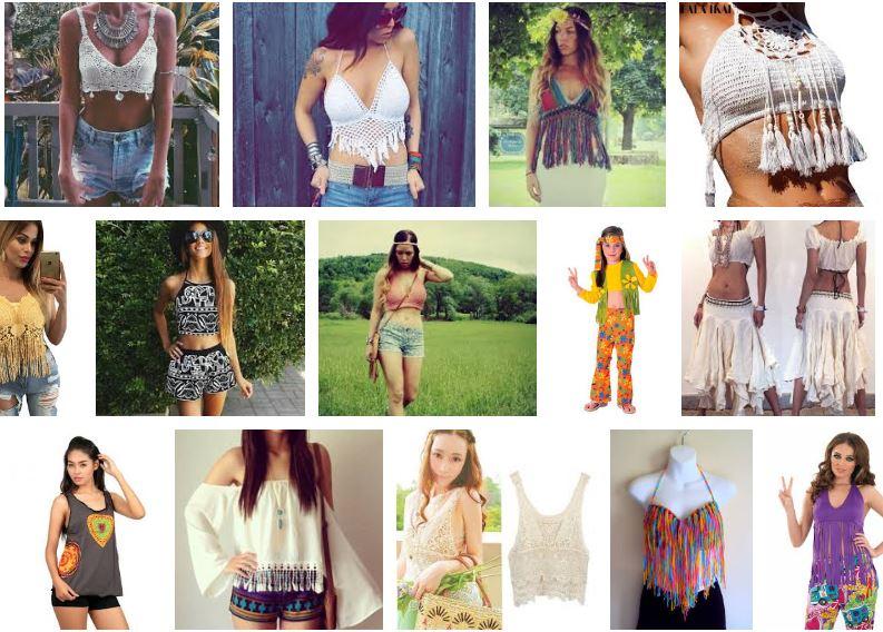 Mujeres con top hippie