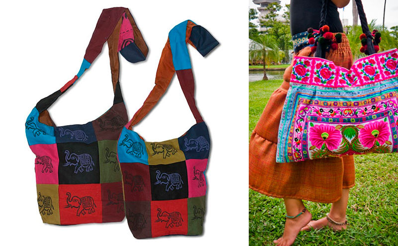 Mujer con bolso etnico hippie