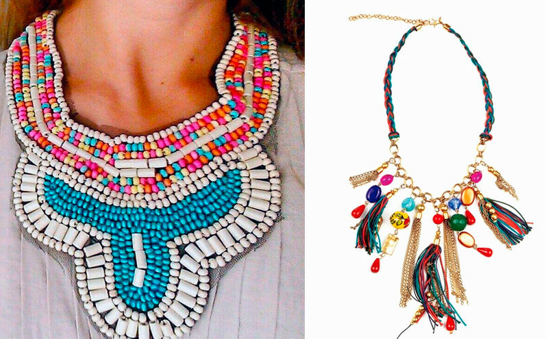 Mujer con collar hippie