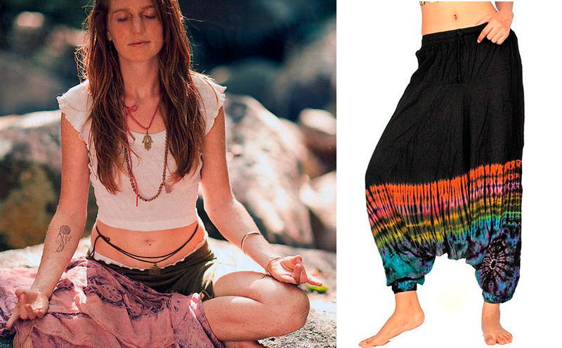 Mujer con pantalones hippies