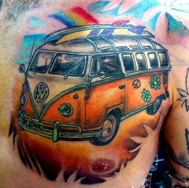 tatuaje furgoneta hippie